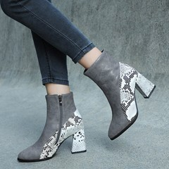 Shoespie Sexy Chunky Heel Side Zipper Pointed Toe Floss Boots