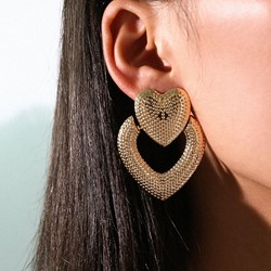 European Heart-Shaped Alloy Anniversary Earrings