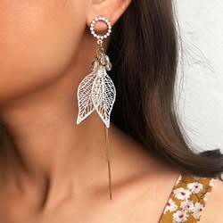 Hollow Out Leaf Alloy Prom Earrings
