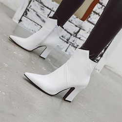 Shoespie Stylish Side Zipper Chunky Heel Plain Pointed Toe Buckle Boots