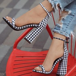 Shoespie Sexy Open Toe Chunky Heel Line-Style Buckle Plaid Sandals