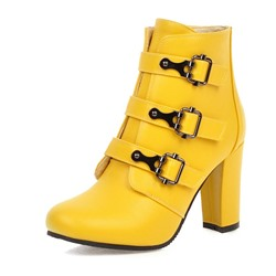 Shoespie Trendy Plain Square Toe Side Zipper Buckle Boots