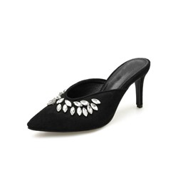 Shoespie Stylish Stiletto Heel Slip-On Beads Western Slippers