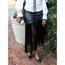 Tassel Plain Mid-Calf Fashion Women's Skirt