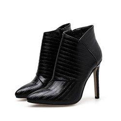 Shoespie Sexy Side Zipper Pointed Toe Plain PU Boots