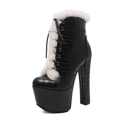 Shoespie Sexy Round Toe Side Zipper Chunky Heel Platform Boots