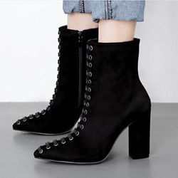 Shoespie Sexy Pointed Toe Side Zipper Plain PU Boots