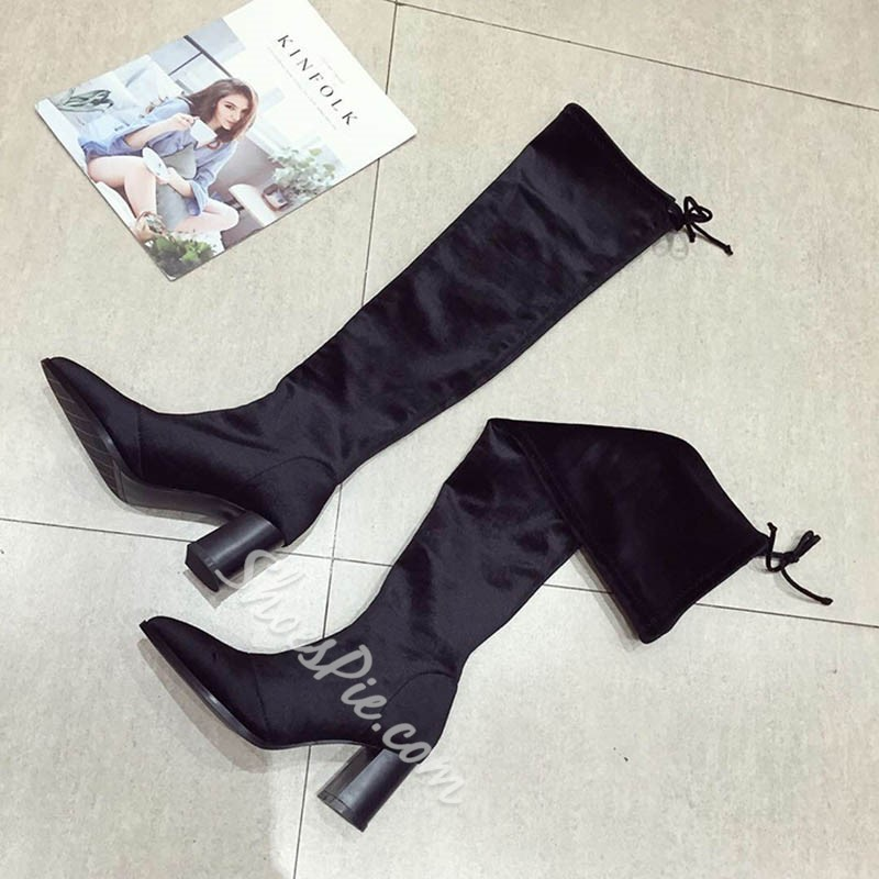Shoespie Trendy Chunky Heel Pointed Toe Plain Short Floss Boots