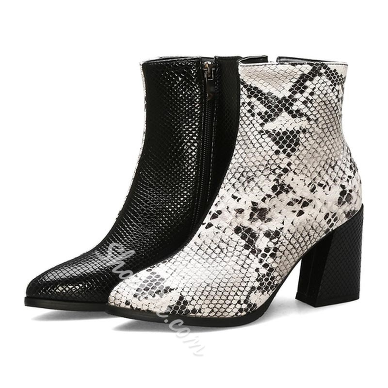 Shoespie Sexy Side Zipper Square Toe Chunky Heel Serpentine Boots