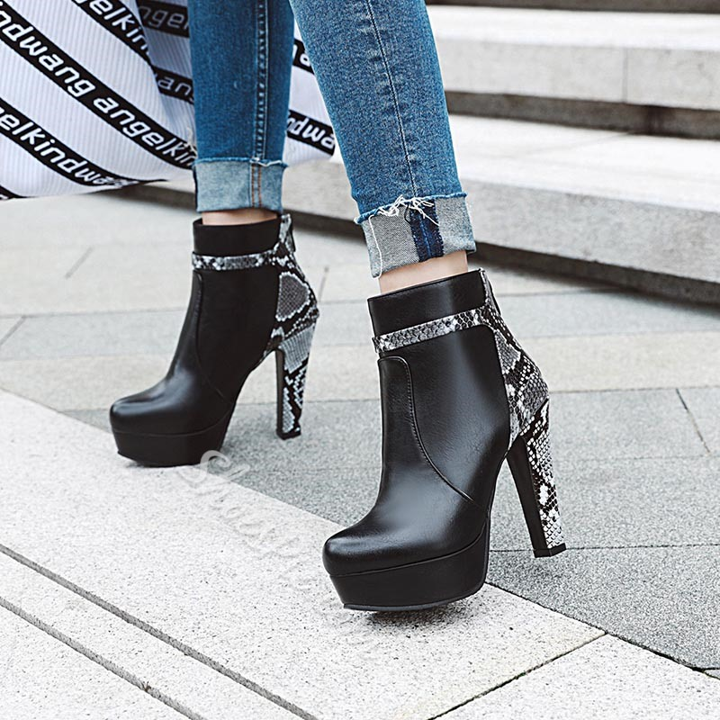 Shoespie Trendy Back Zip Pointed Toe Chunky Heel Serpentine Boots