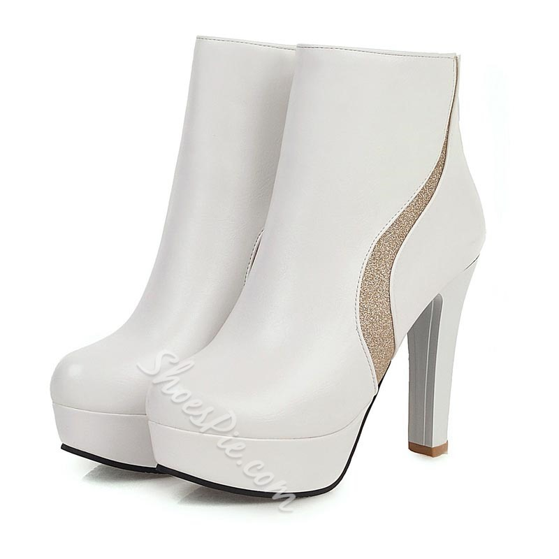 Shoespie Sexy Chunky Heel Round Toe Color Block Short Floss Boots