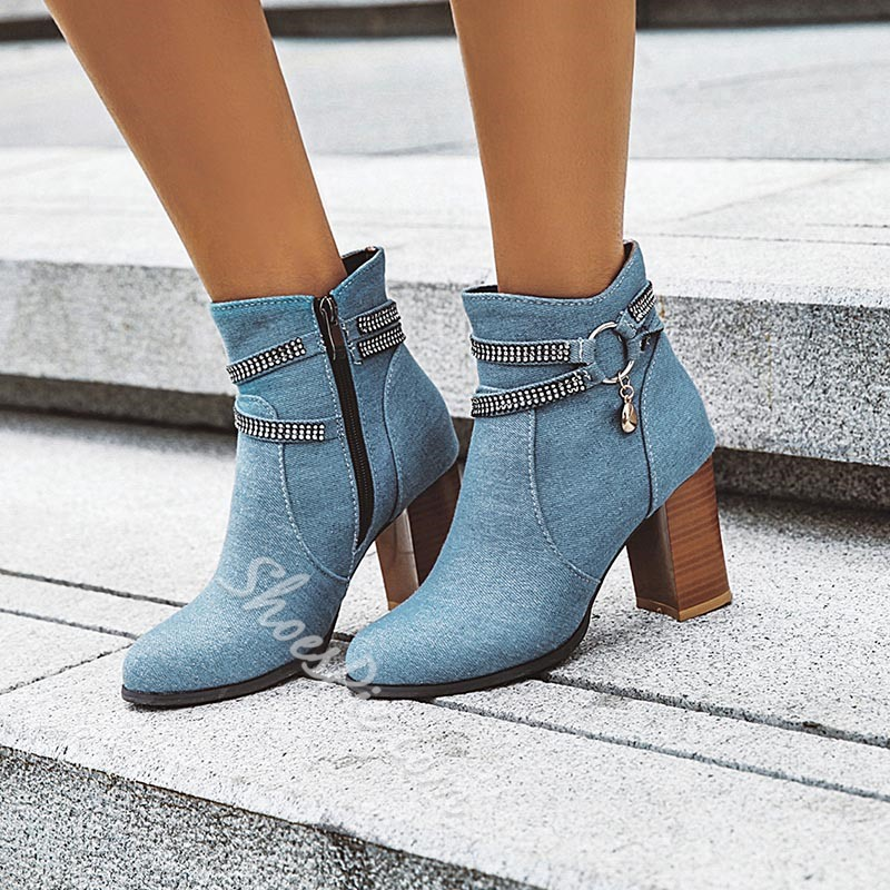 Shoespie Trendy Pointed Toe Chunky Heel Plain Short Floss Boots
