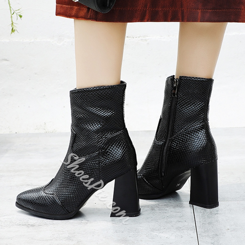 Shoespie Sexy Pointed Toe Plain Chunky Heel Short Floss Boots