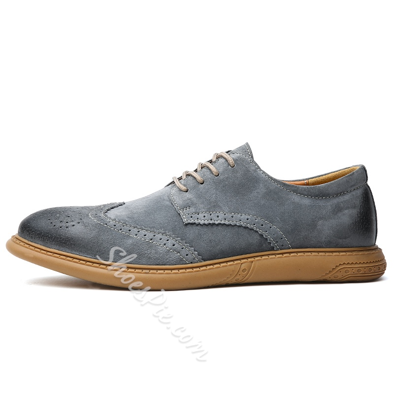 Shoespie Men's Nubuck Leather Flat With Low-Cut Upper Leather Leather Shoes