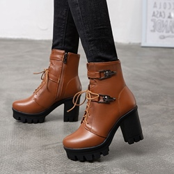 Shoespie Trendy Side Zipper Plain Chunky Heel Cross Strap Boots