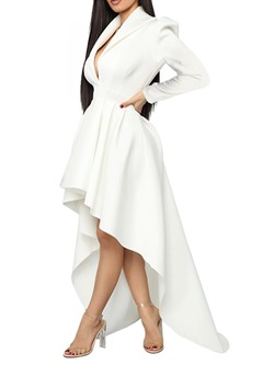 V-Neck Asymmetric Long Sleeve Winter Women's Dress