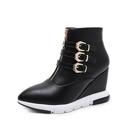 Shoespie Sexy Pointed Toe Side Zipper Wedge Heel Korean Boots