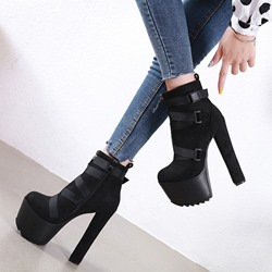 Shoespie Trendy Side Zipper Round Toe Plain Thread Boots