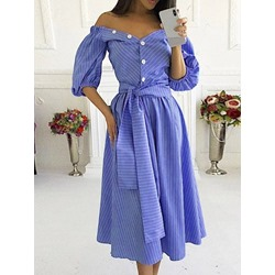 Lace-Up V-Neck Mid-Calf Sweet Women's Dress