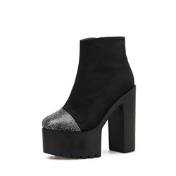 Shoespie Sexy Color Block Side Zipper Round Toe Platform Boots