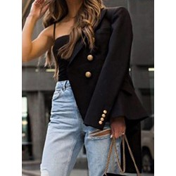 Double-Breasted Plain Notched Lapel Standard Women's Casual Blazer