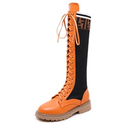 Shoespie Trendy Patchwork Lace-Up Front Round Toe Casual Boots