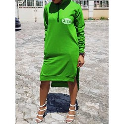Long Sleeve Hooded Split Women's Dress