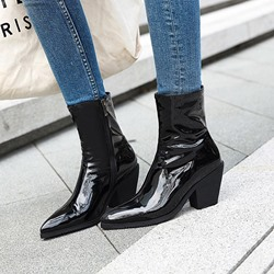 Shoespie Stylish Plain Pointed Toe Block Heel Short Floss Boots