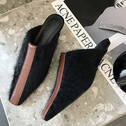 Shoespie Trendy Slip-On Closed Toe Shaped Heel Color Block Slippers