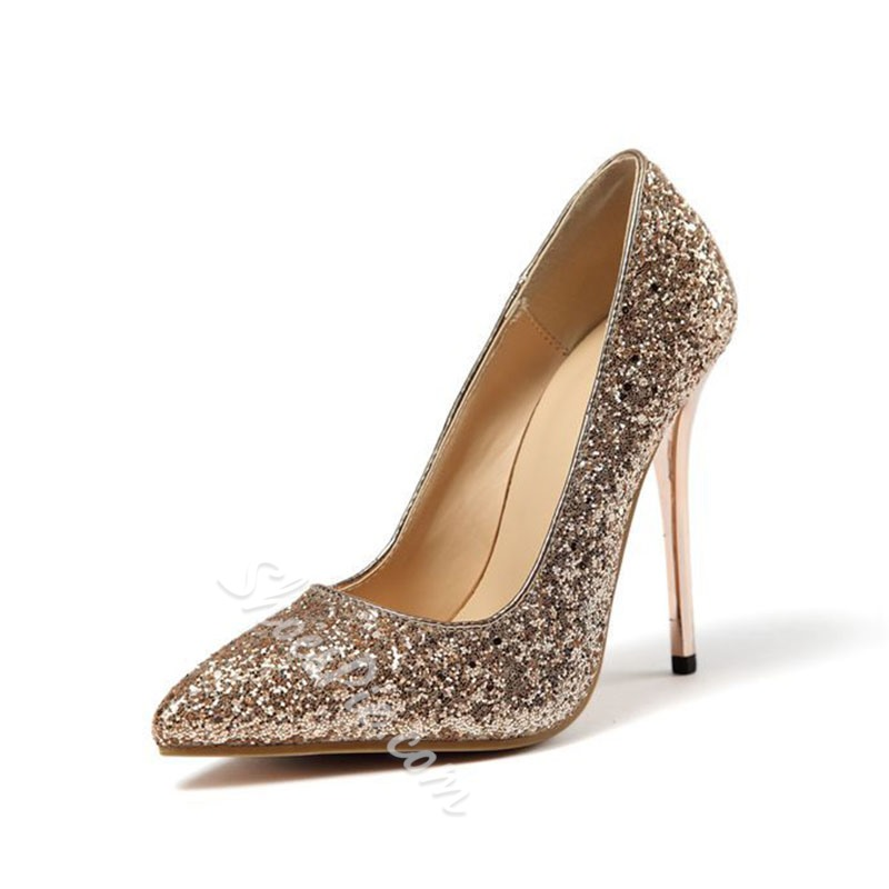 Shoespie Sexy Slip-On Sequin Stiletto Heel Plain Thin Shoes