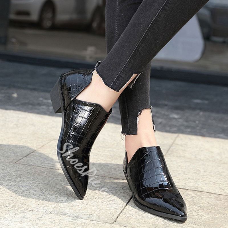 Shoespie Stylish Pointed Toe Block Heel Slip-On Casual Thin Shoes