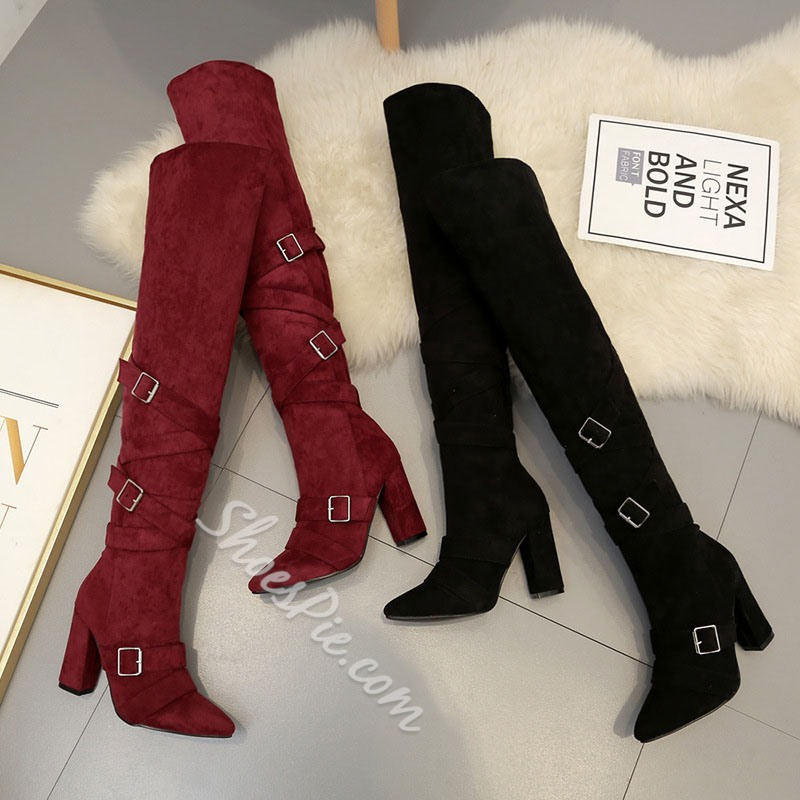 Shoespie Stylish Hasp Plain Pointed Toe Thread Boots