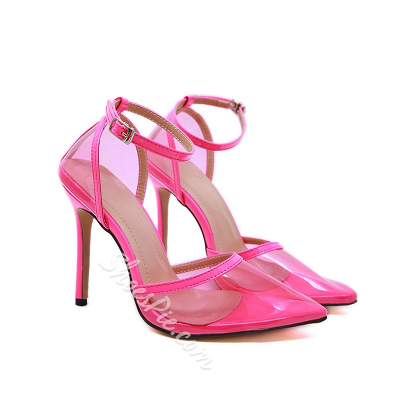 Shoespie Trendy Line-Style Buckle Pointed Toe Western Clear Stiletto Heel