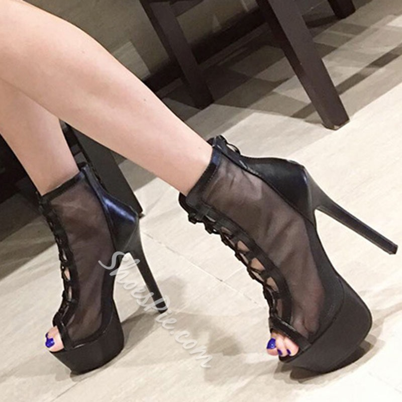 Shoespie Sexy Thread Zipper Peep Toe High-Cut Upper Thin Shoes