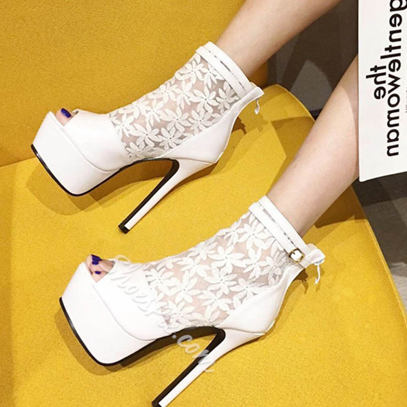 Shoespie Trendy Peep Toe Thread Zipper Casual Thin Shoes