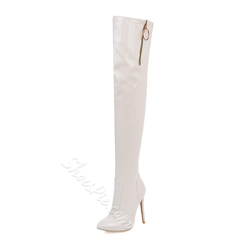 Shoespie Trendy Plain Side Zipper Pointed Toe Zipper Boots