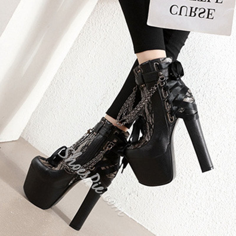Shoespie Trendy Side Zipper Chunky Heel Round Toe Lace-Up Boots