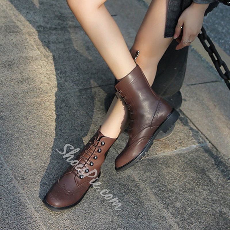 Shoespie Sexy Lace-Up Front Block Heel Round Toe Thread Boots