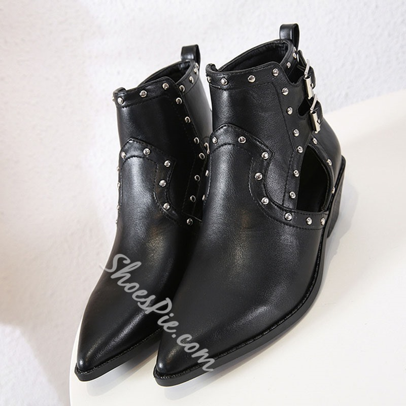 Shoespie Stylish Plain Pointed Toe Hasp Casual Boots