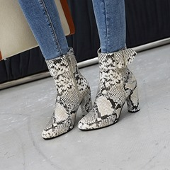 Shoespie Serpentine Round Toe Chunky Heel Side Zipper Casual Boots