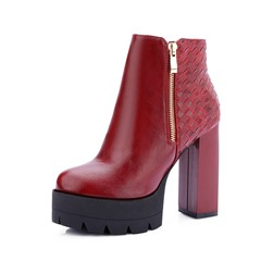 Shoespie Sexy Round Toe Chunky Heel Plain Casual Boots