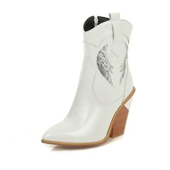 Shoespie Sexy Side Zipper Chunky Heel Pointed Toe Short Floss Boots