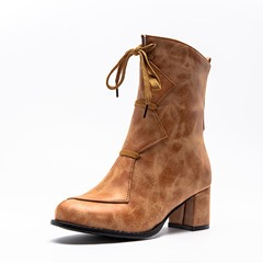 Shoespie Trendy Round Toe Chunky Heel Color Block Casual Boots