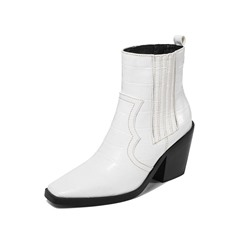 Shoespie Sexy Chunky Heel Slip-On Square Toe PU Boots