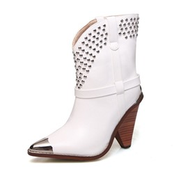 Shoespie Trendy Color Block Chunky Heel Pointed Toe Rivet Boots