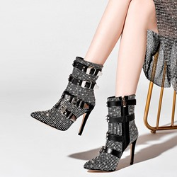 Shoespie Trendy Pointed Toe Side Zipper Stiletto Heel PU Boots