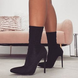 Shoespie Trendy Slip-On Pointed Toe Stiletto Heel Thread Boots