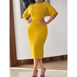 Round Neck Half Sleeve Mid-Calf Mid Waist Women's Dress