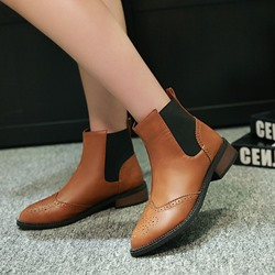 Shoespie Stylish Pointed Toe Block Heel Slip-On Casual Boots