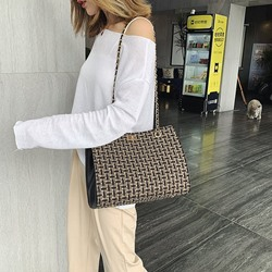 Shoespie Thread Plaid Rectangle Shoulder Bags